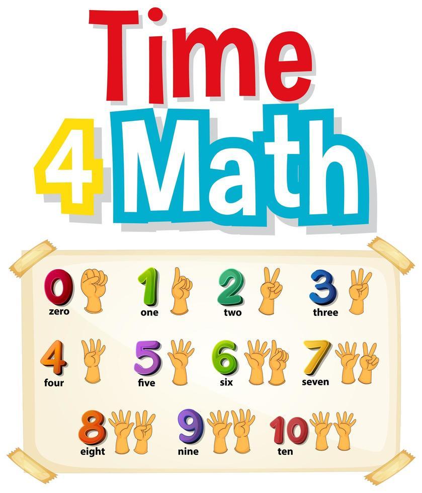 contando números con manos vector