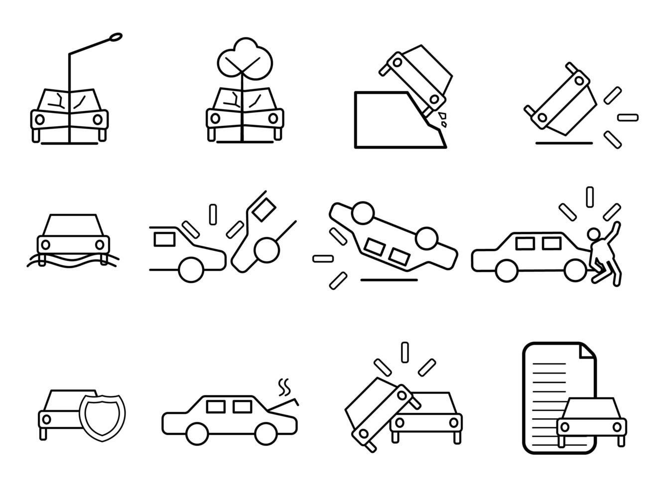 Car crash icon set vector
