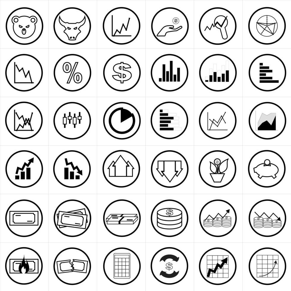 conjunto de iconos de comercio de acciones vector