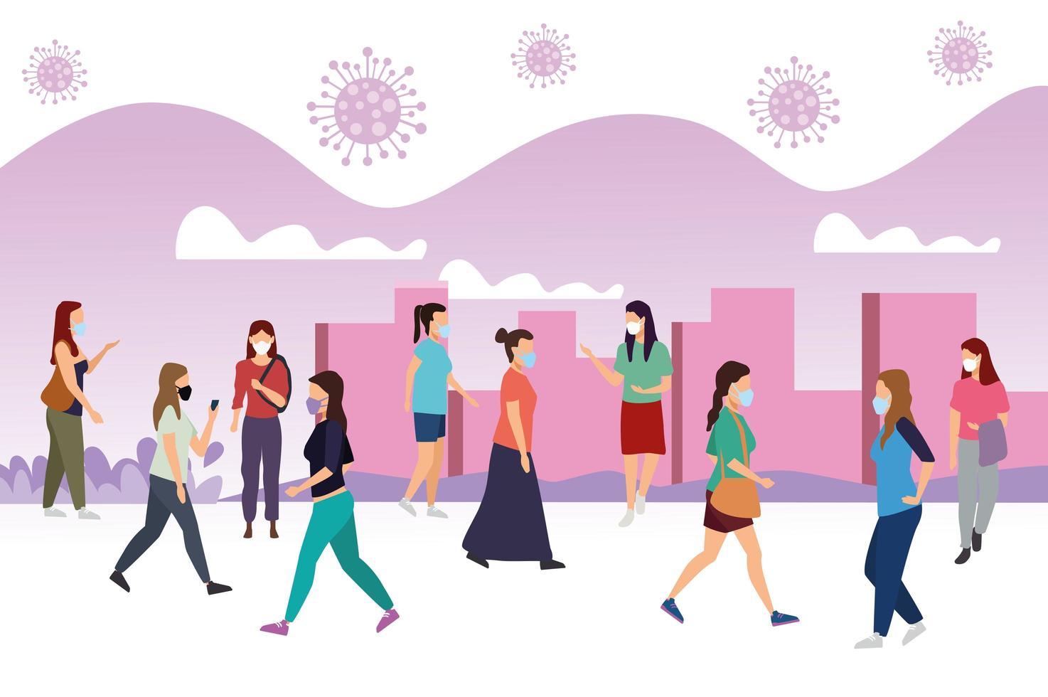 Grupo de mujeres con máscaras médicas en la ciudad vector