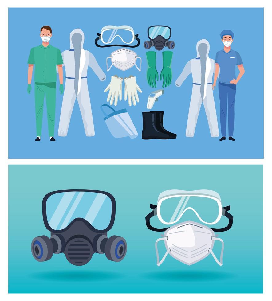 médicos con elementos de equipo de bioseguridad para protección covid-19 vector
