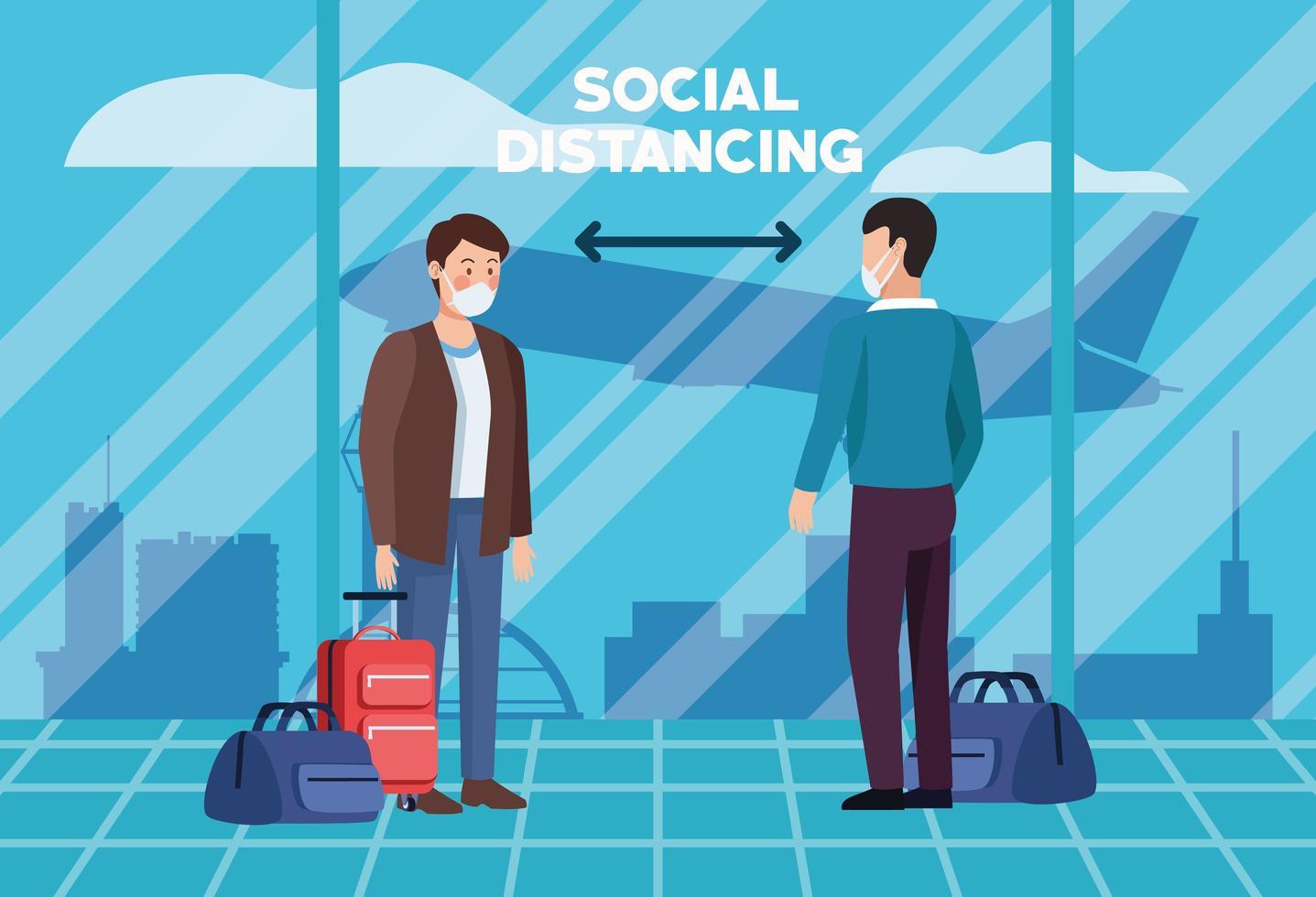 Social distancing in airport poster design  vector
