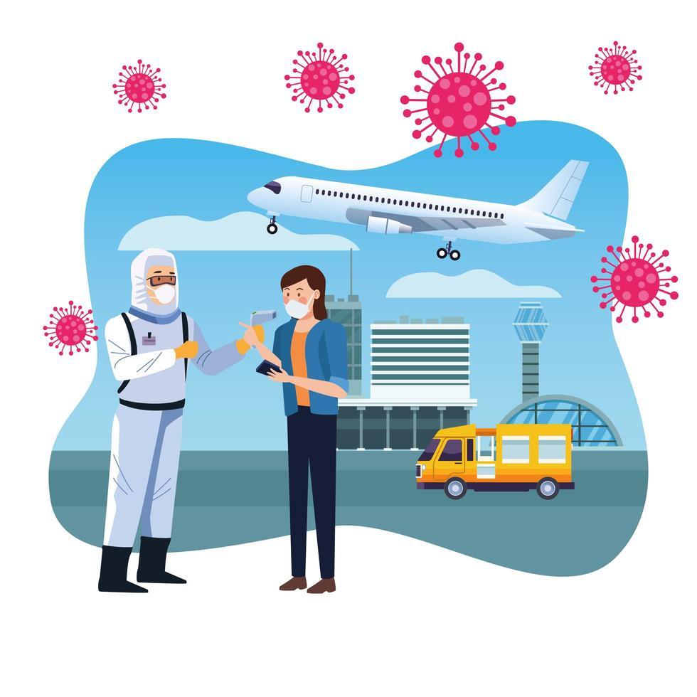 travailleur de la biosécurité vérifiant la température à l'aéroport pour covid 19 vecteur