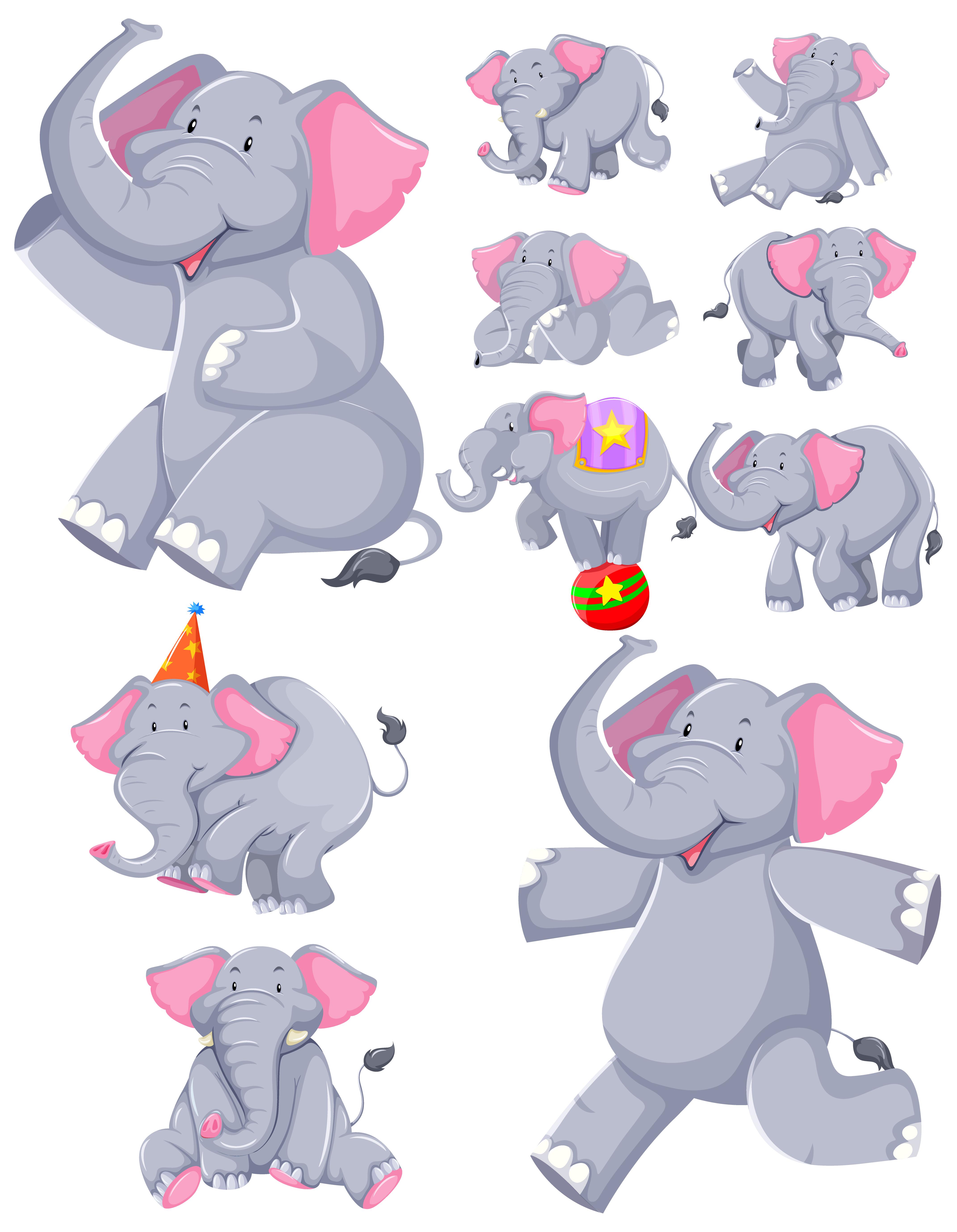 Set of dancing elephant cartoons - Download Free Vectors ...