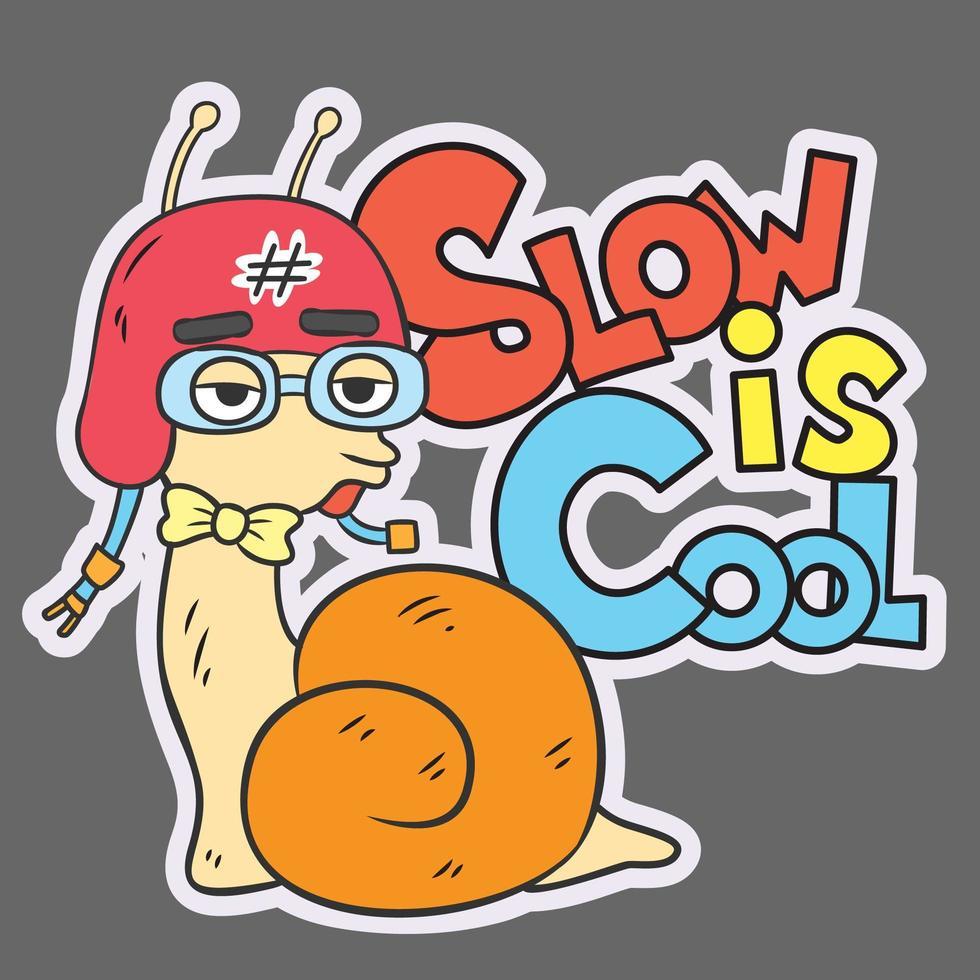 lento es un caracol fresco vector