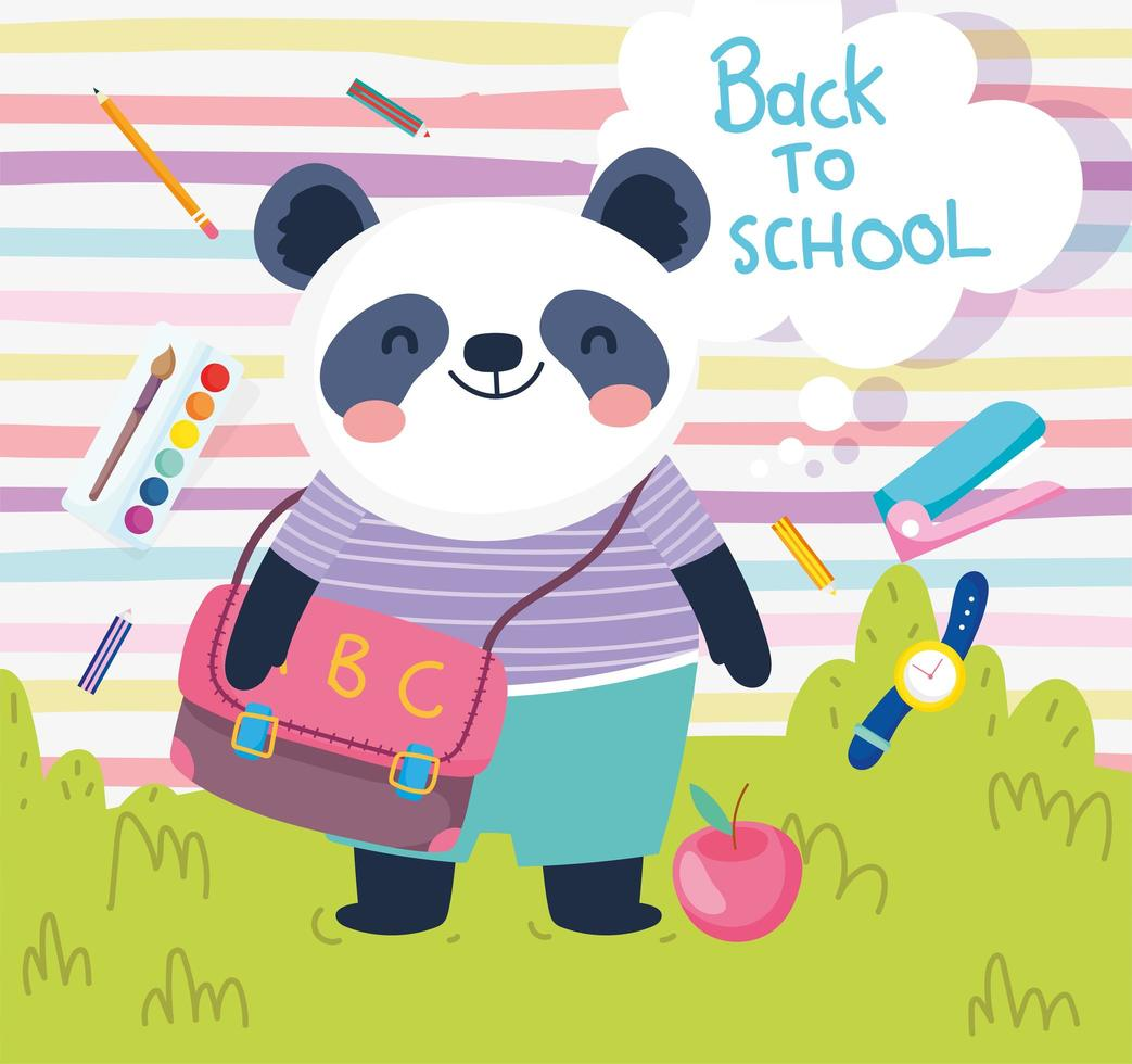 back to school cute panda with bag apple clock color education vector