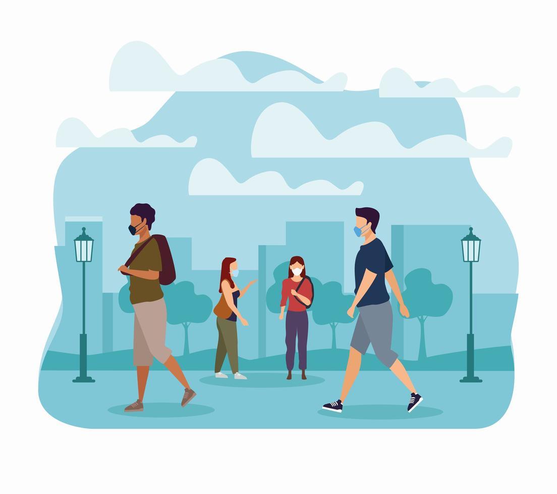 Grupo de personas enmascaradas caminando en el parque vector
