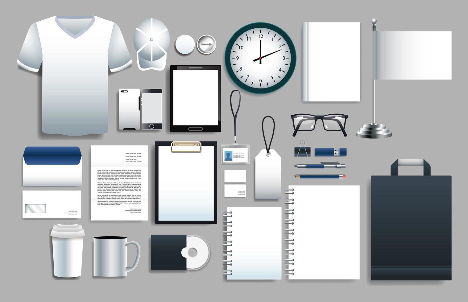 conjunto de elementos blancos con plantillas de papelería vector