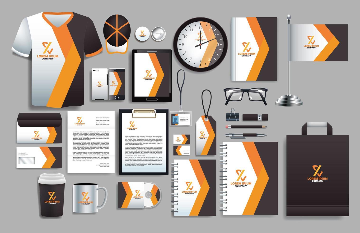 conjunto de elementos de color gris oscuro y naranja con plantillas de papelería vector