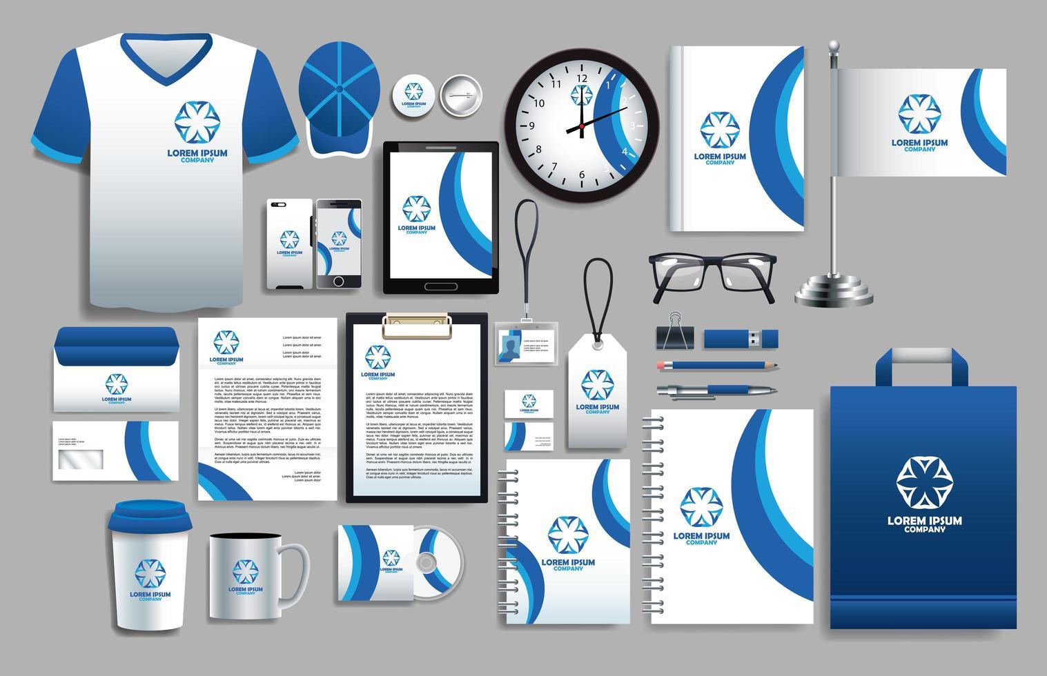 conjunto de elementos de logotipo blanco y azul con plantillas de papelería vector