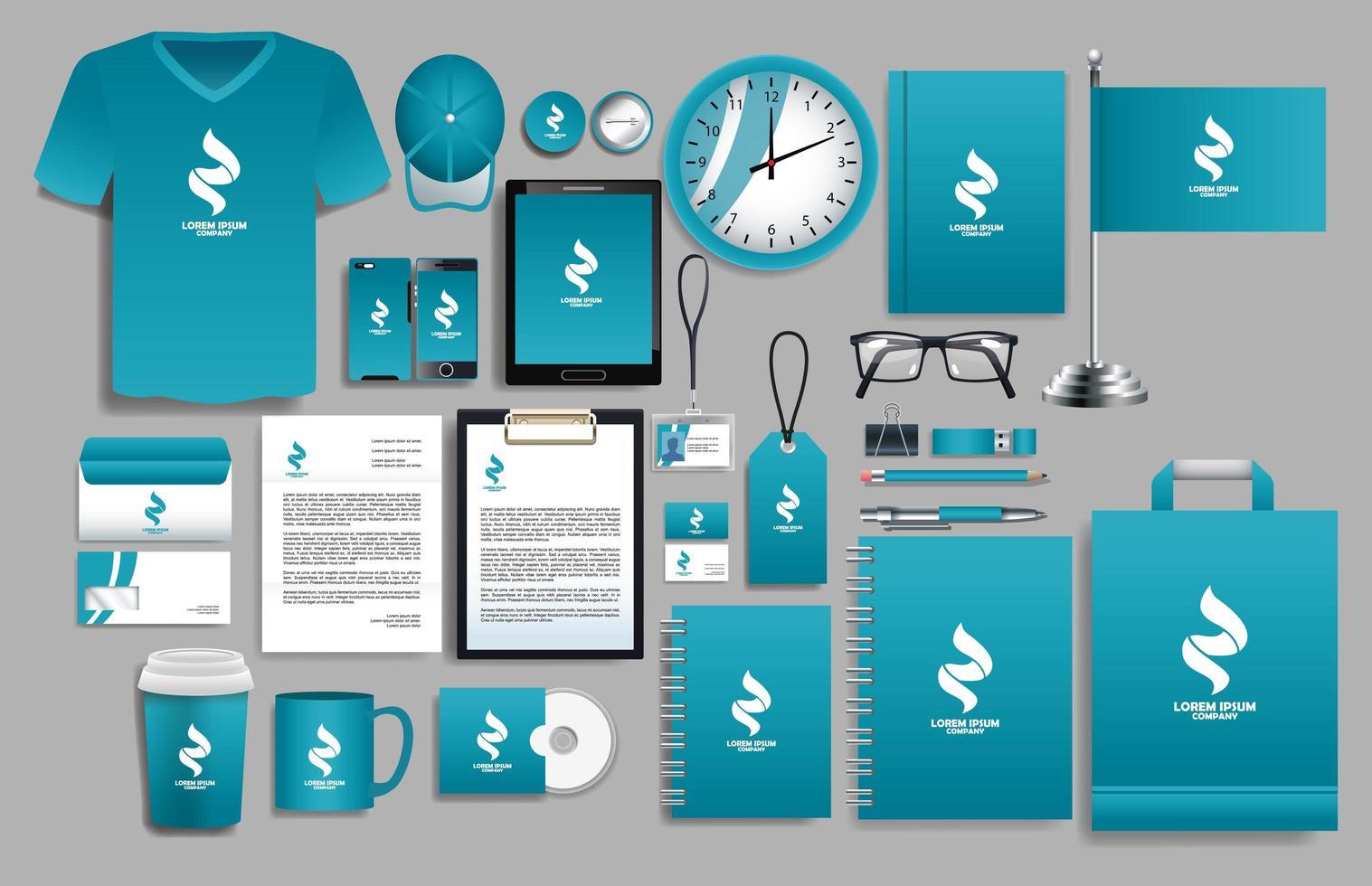 conjunto de elementos de logotipo azul y blanco con plantillas de papelería vector
