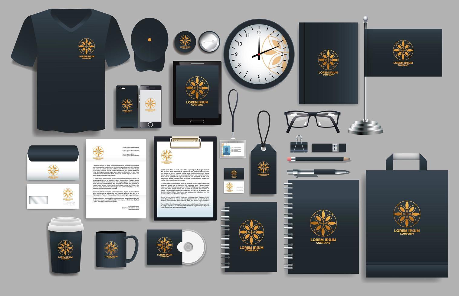 conjunto de elementos de logotipo negros y dorados con plantillas de papelería vector