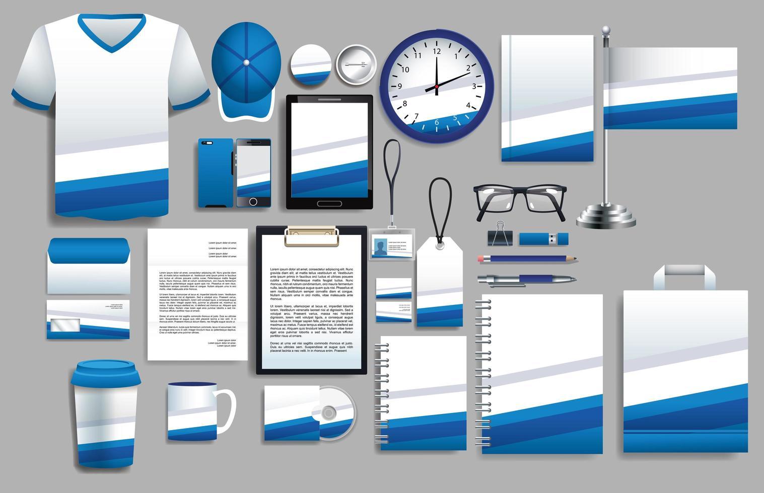 conjunto de elementos azules y blancos con plantillas de papelería vector