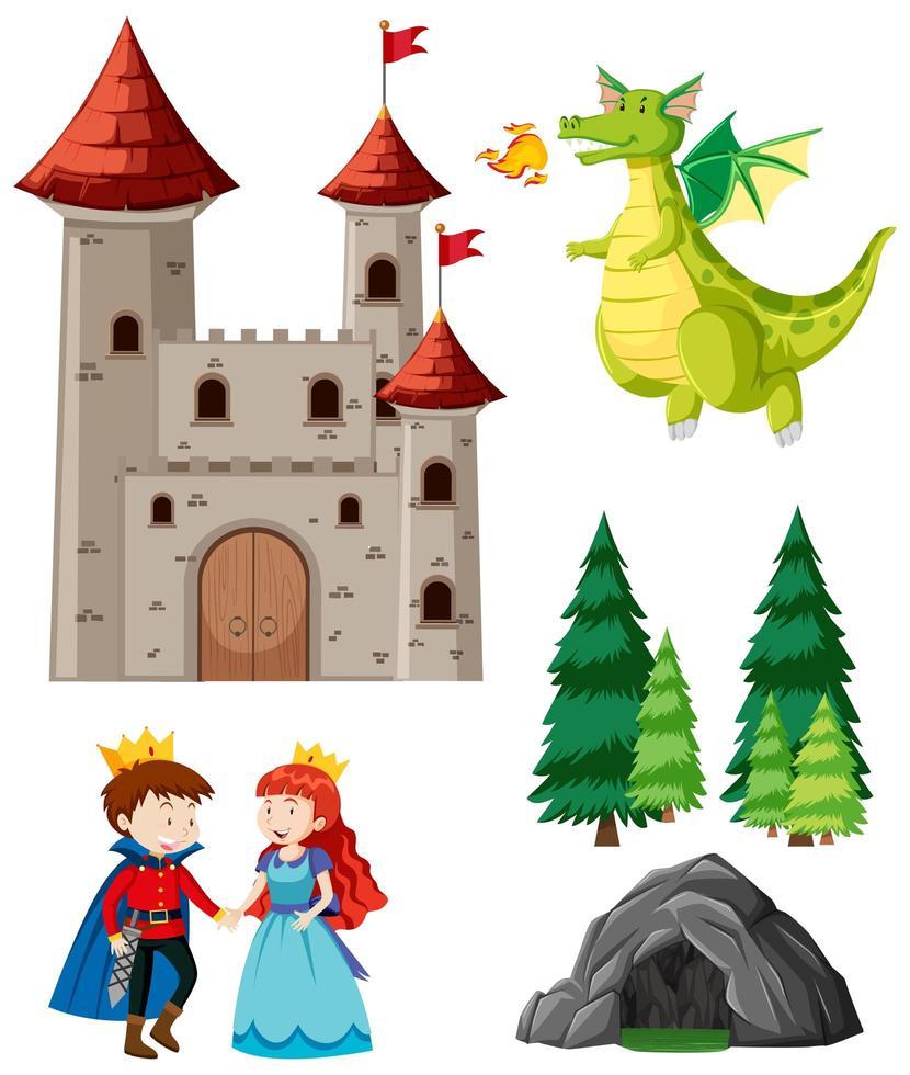 cuento de hadas con dragón, príncipe y princesa vector