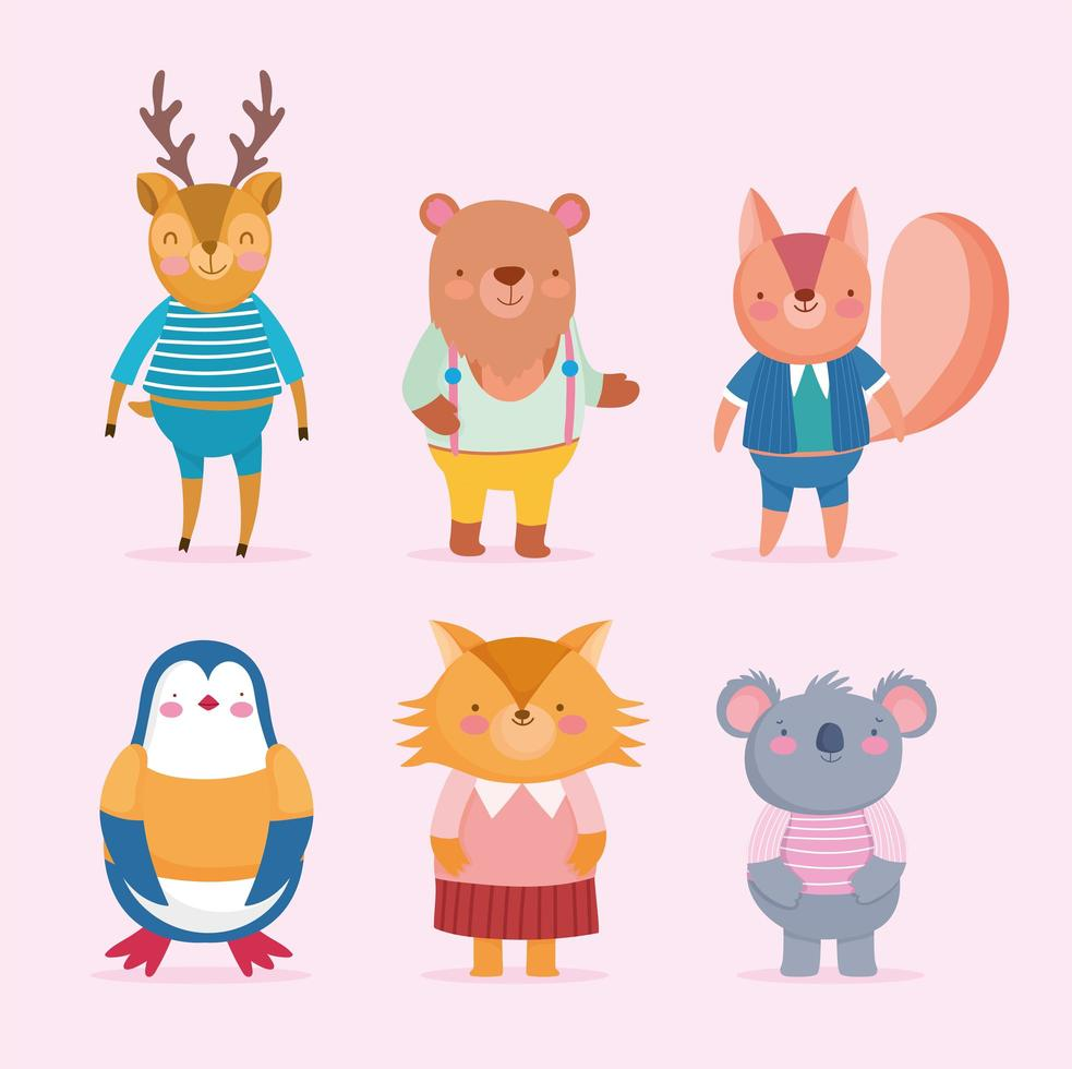 Cute dressed up animals set vector