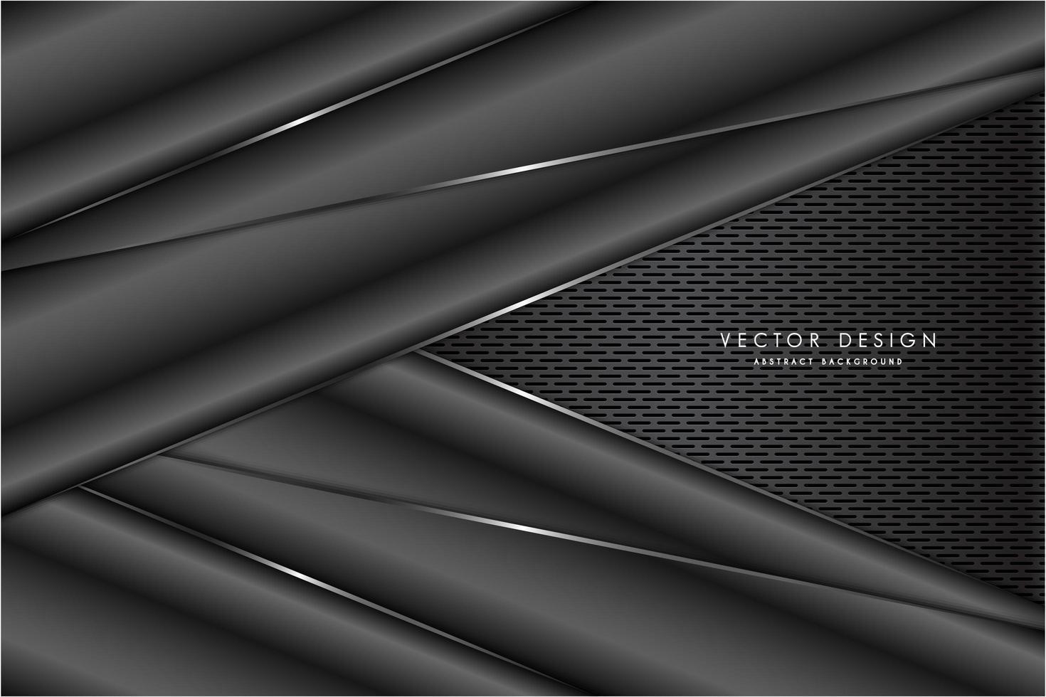 paneles angulados de color gris oscuro metálico sobre textura de rejilla gris vector