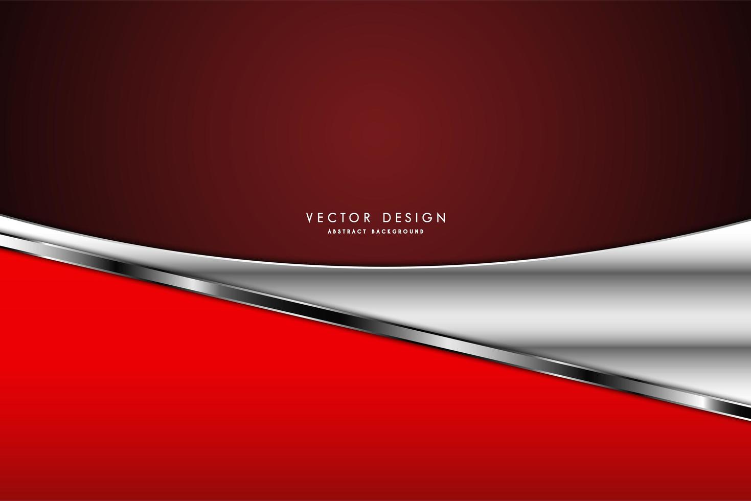 Metallic red and silver curved panels over dark red gradient vector