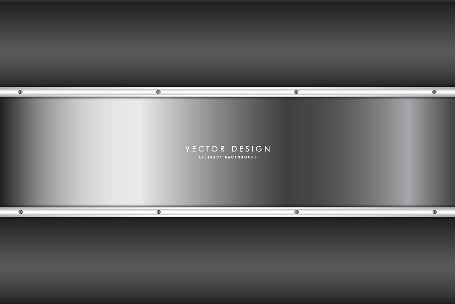 Metallic silver gradient panel over dark gray gradient vector