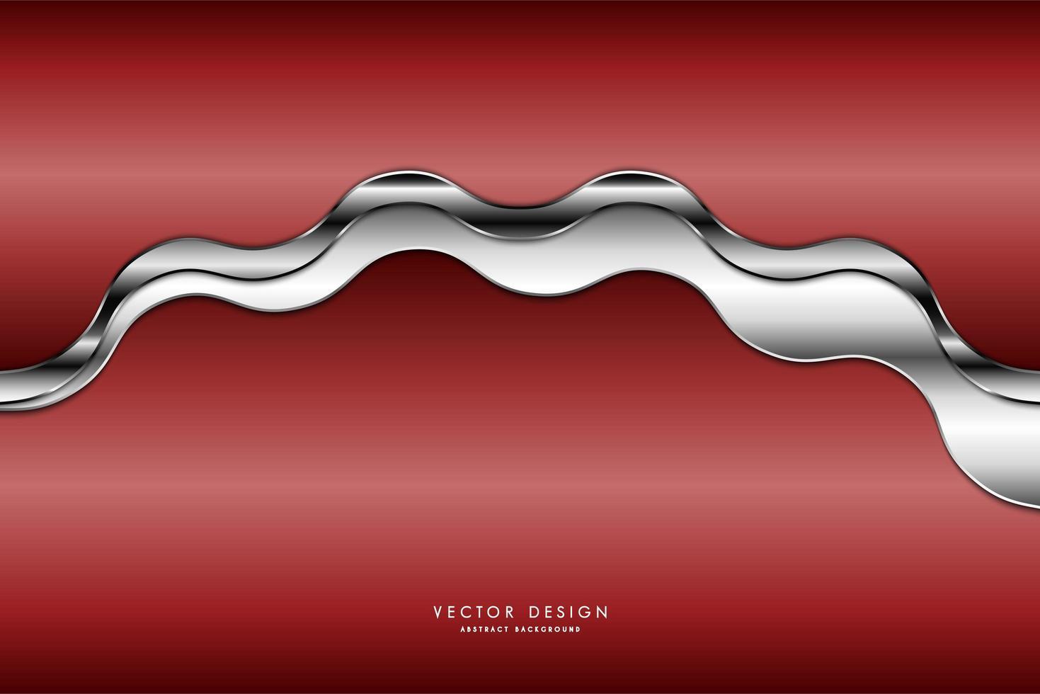 Wavy glossy silver plate running through metallic red gradient vector