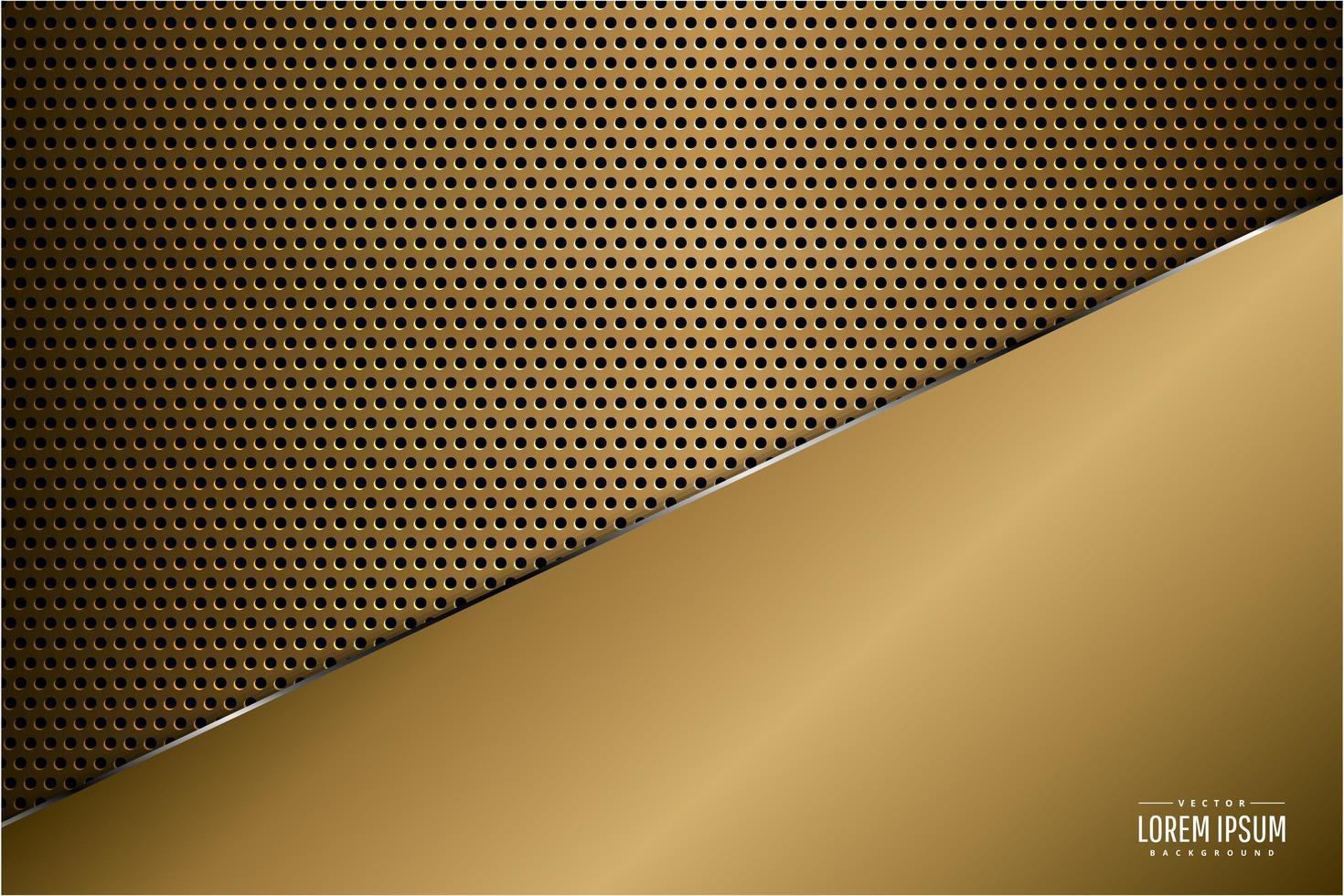 panel dorado metálico de lujo sobre textura de fibra de carbono vector