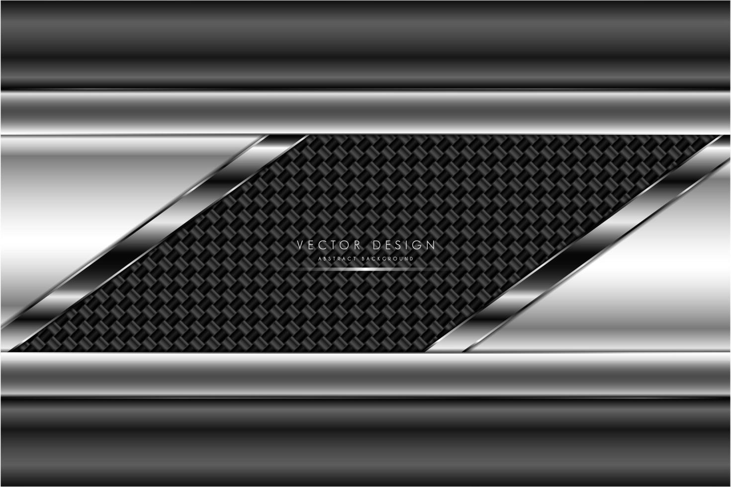 Metallic gray and silver plates with carbon fiber texture vector