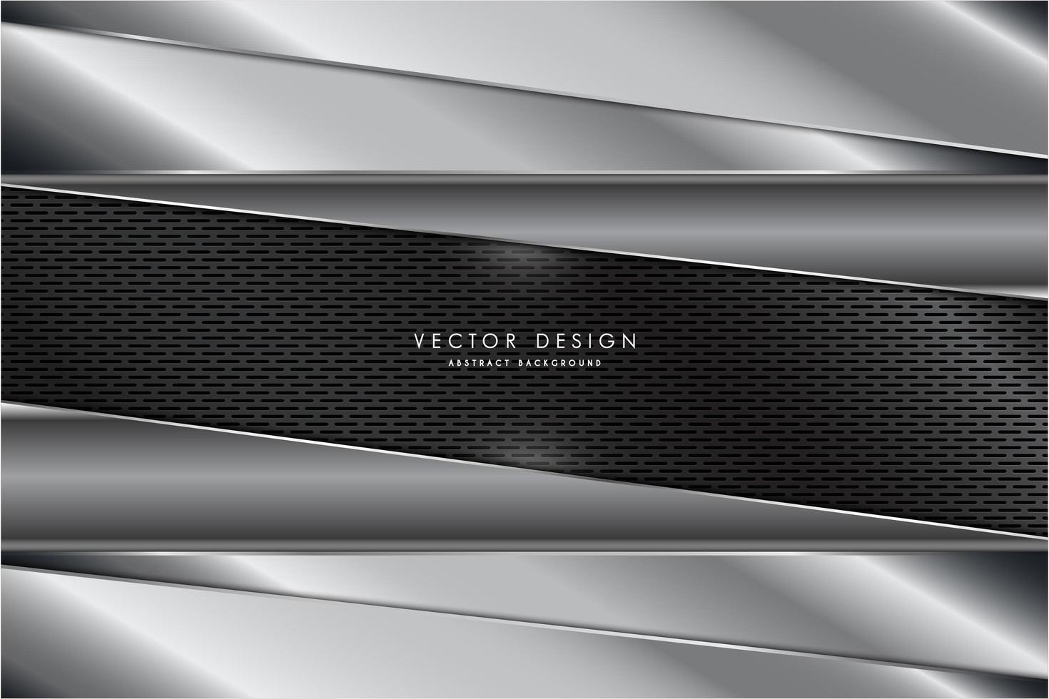 Metallic silver layered panels over gray carbon fiber texture vector