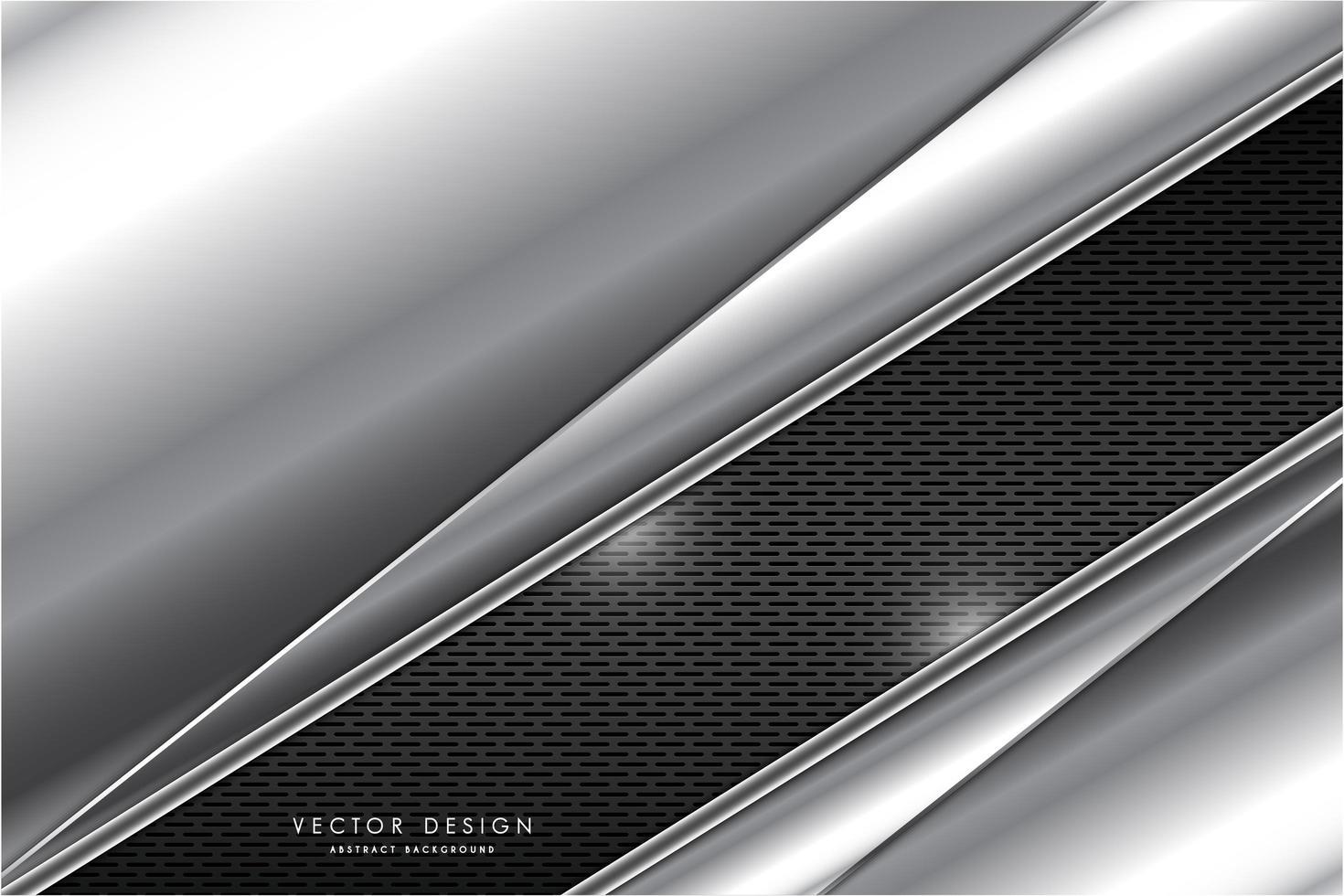 placas anguladas de plata metálica sobre textura de rejilla gris vector