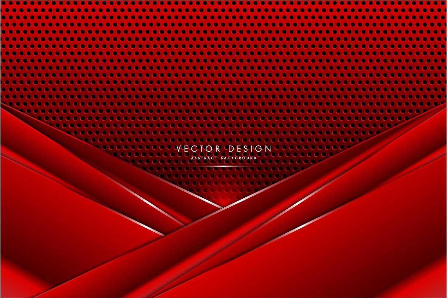 paneles angulares rojos metálicos sobre textura de fibra de carbono vector