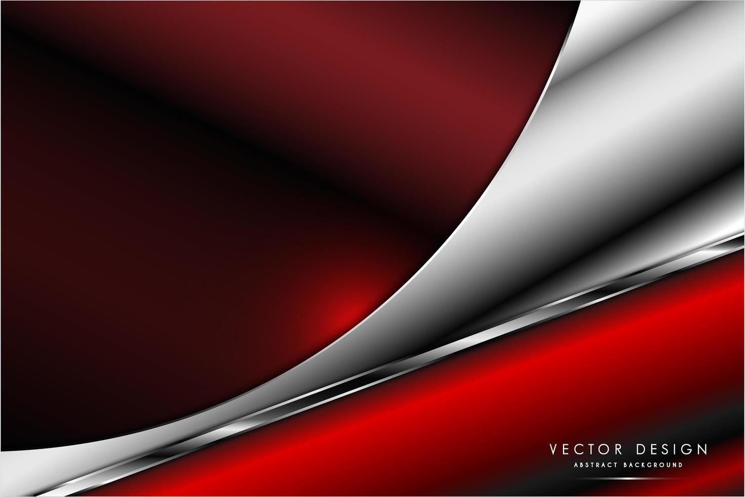 diseño curvo dinámico rojo y plateado metálico vector