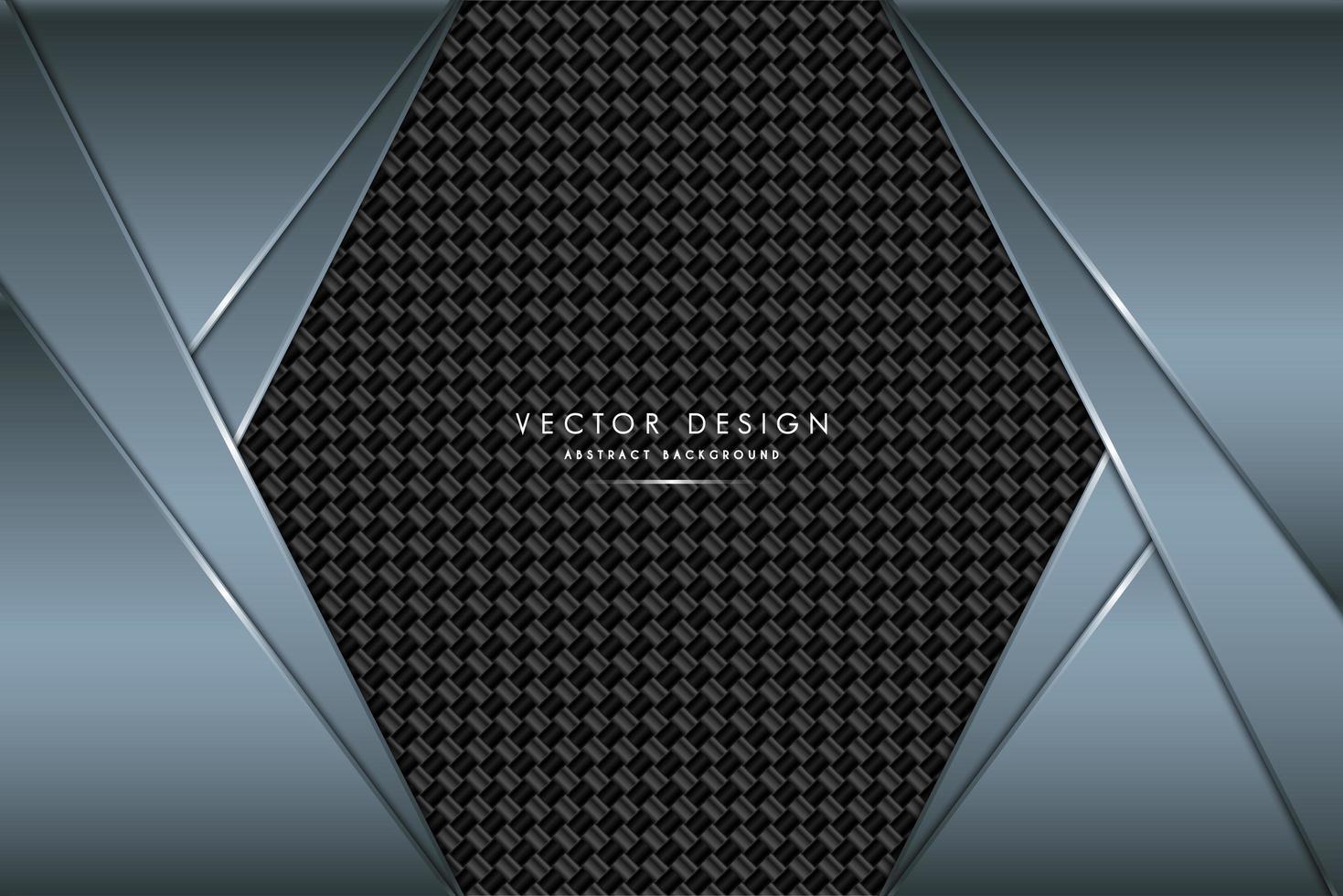 diseño en ángulo metálico azul con textura de fibra de carbono vector