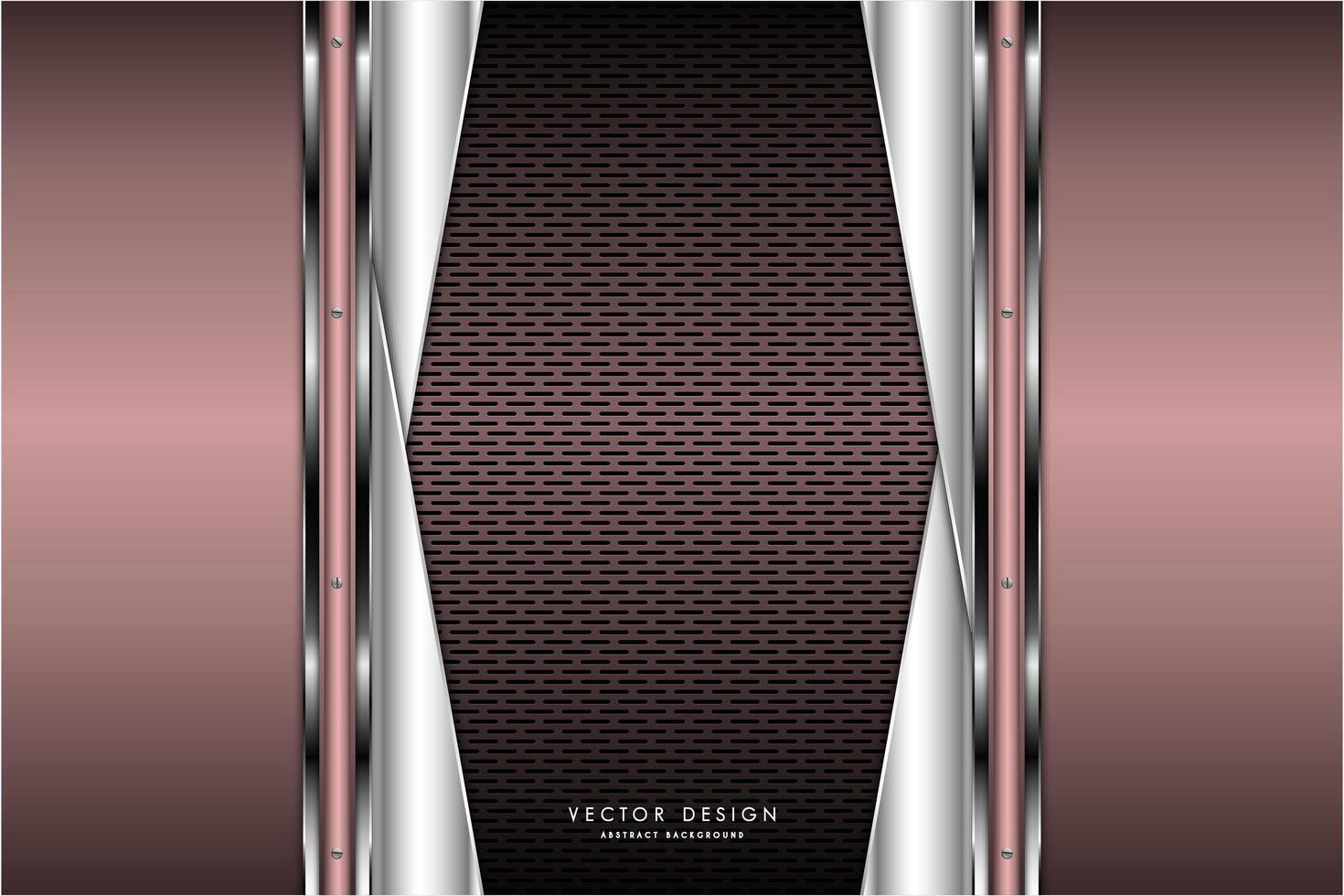 diseño rosa metalizado y plateado con fibra de carbono marrón vector