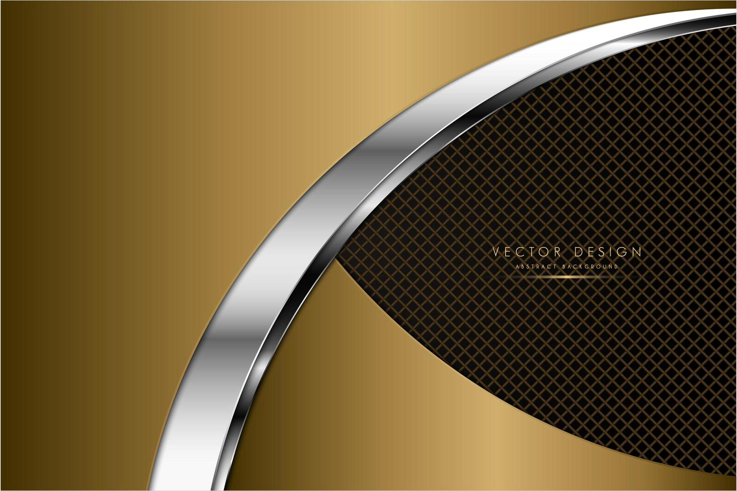 Metallic curved gold and silver plates over grate texture vector