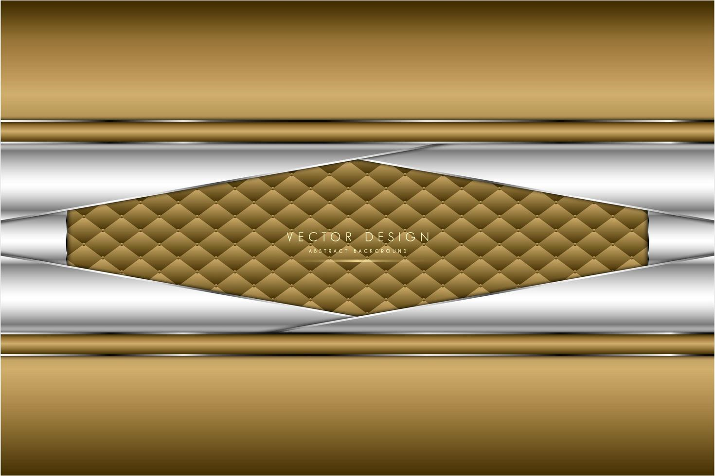 Metallic gold and silver angled panels with upholstery texture vector