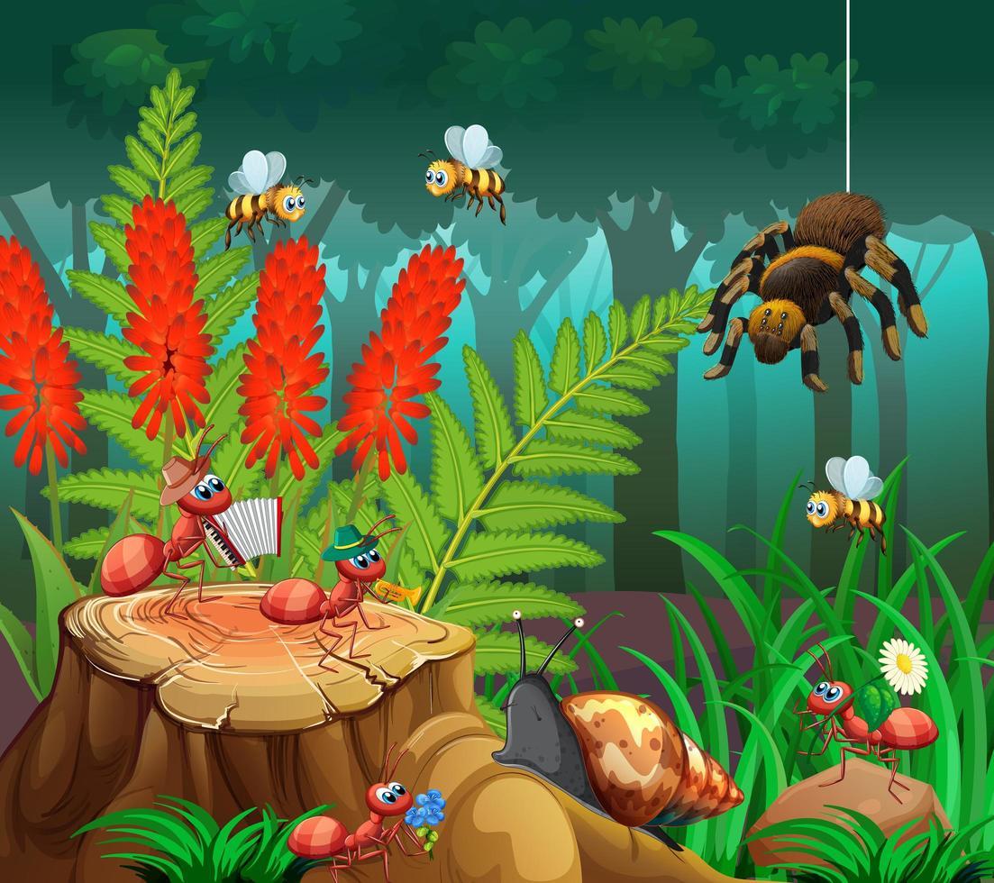 muchos insectos en la escena de la naturaleza vector