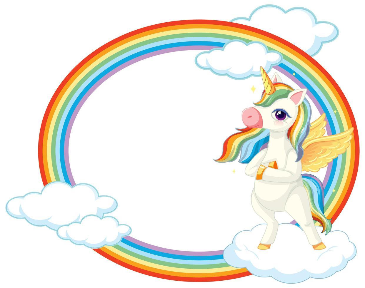 Cute unicorn on sky banner vector