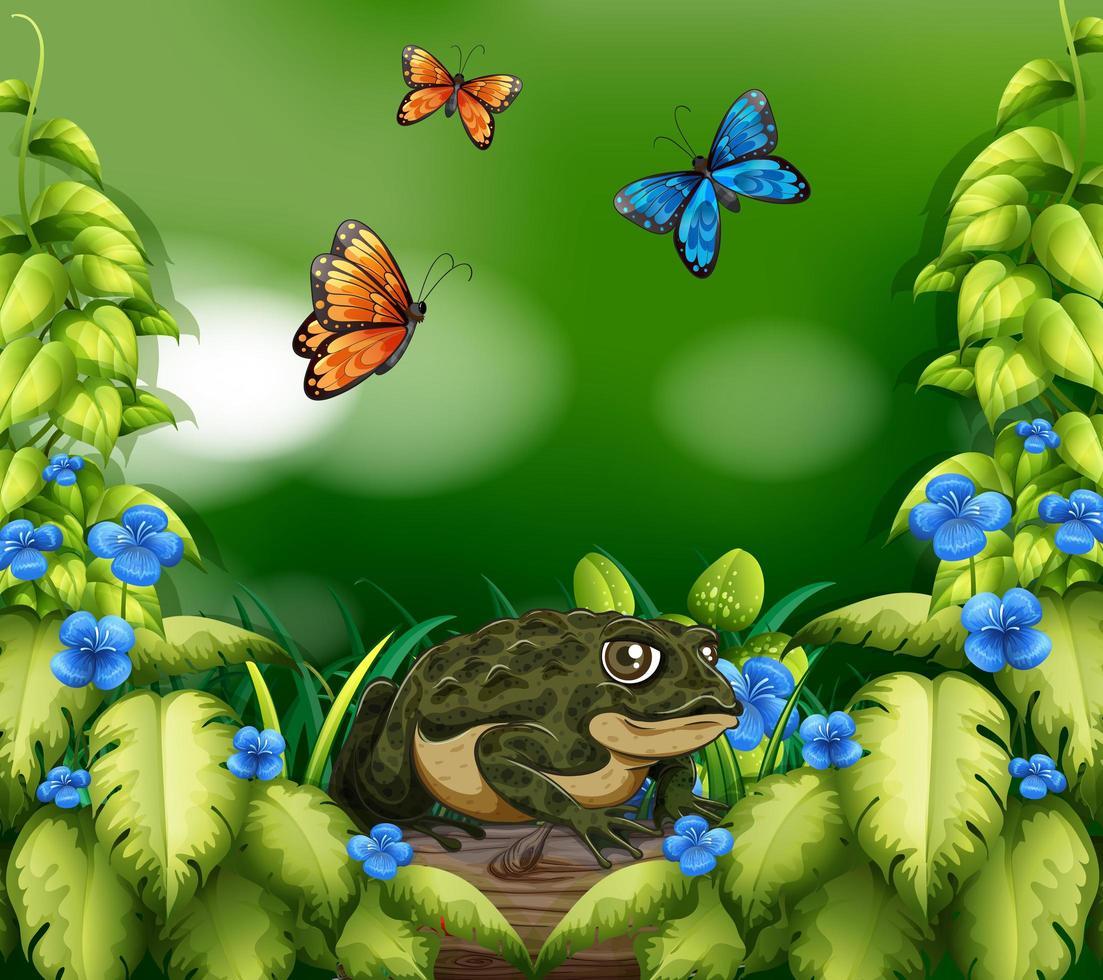 escena de paisaje con rana y mariposas vector
