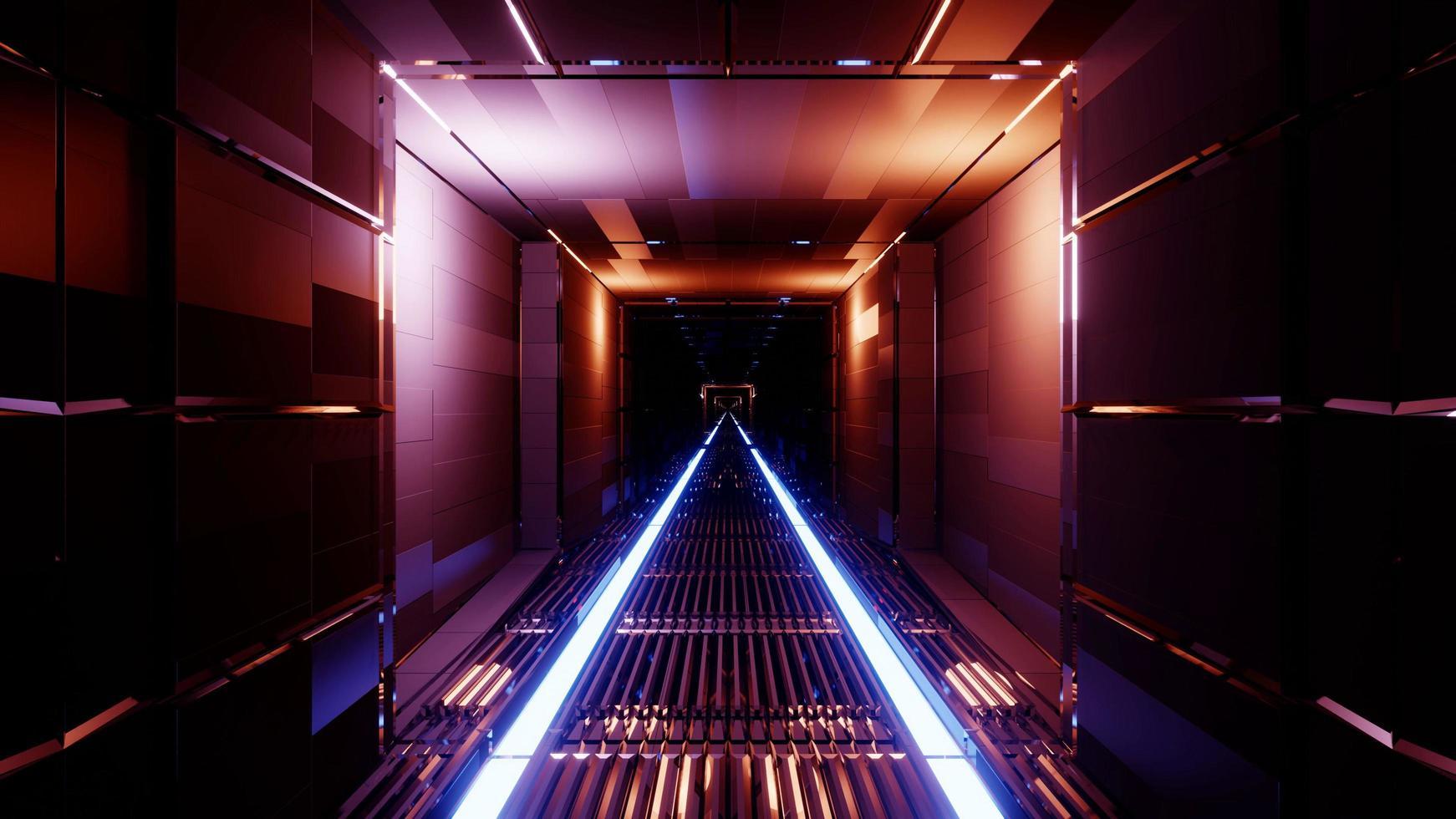 Ilustración 3d fondo de túnel de neón oscuro foto