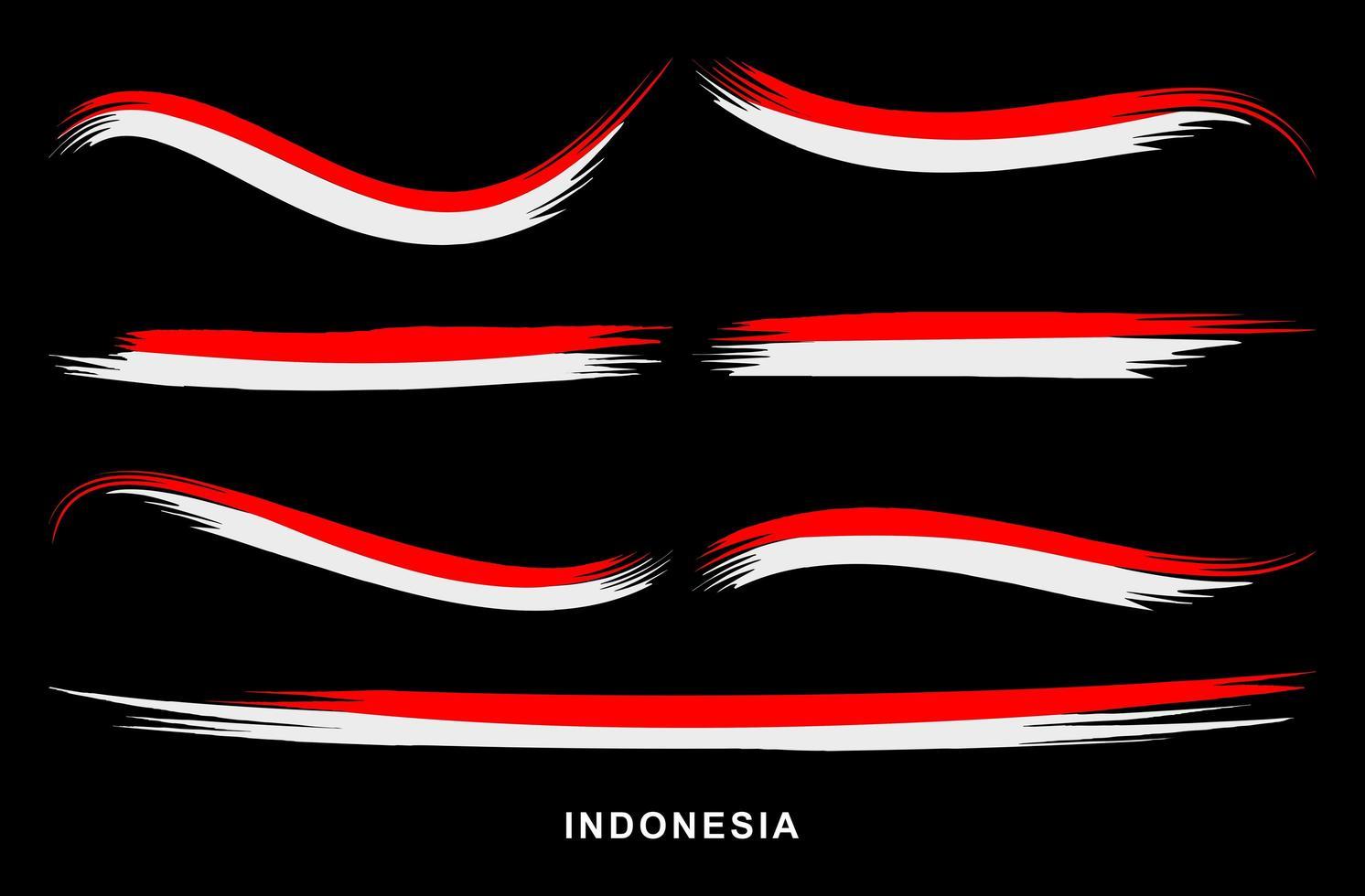drapeau indonésie style rouge et blanc peint avec des pinceaux vecteur