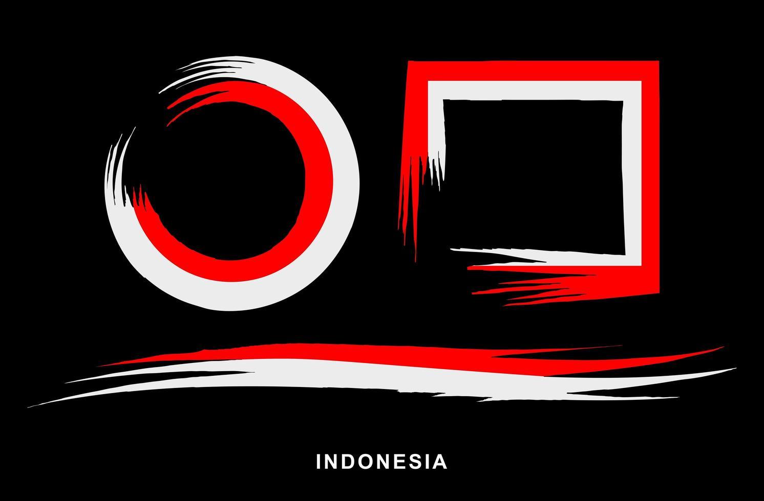 coups de pinceau peints en rouge et blanc indonésien vecteur