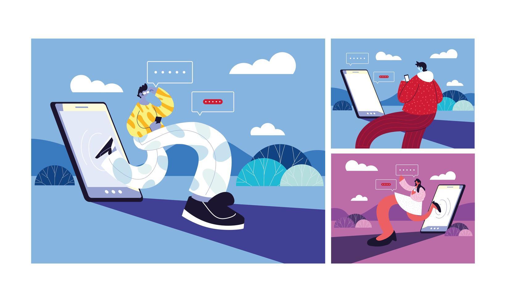 Conjunto de póster con personas y teléfonos inteligentes chateando vector