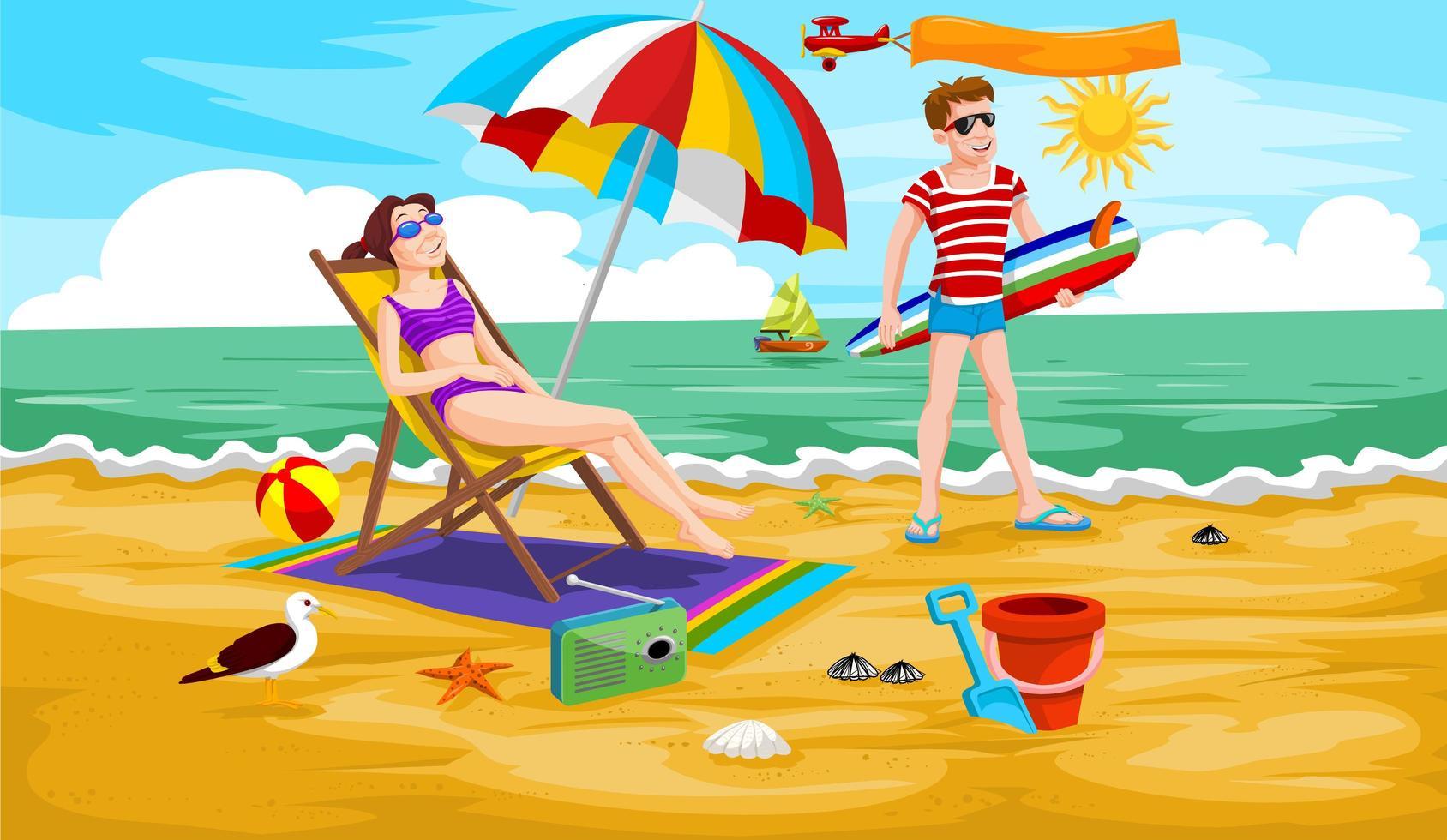 Couple at the Beach vector