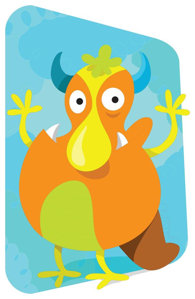 Orange Monster With Big Nose vector