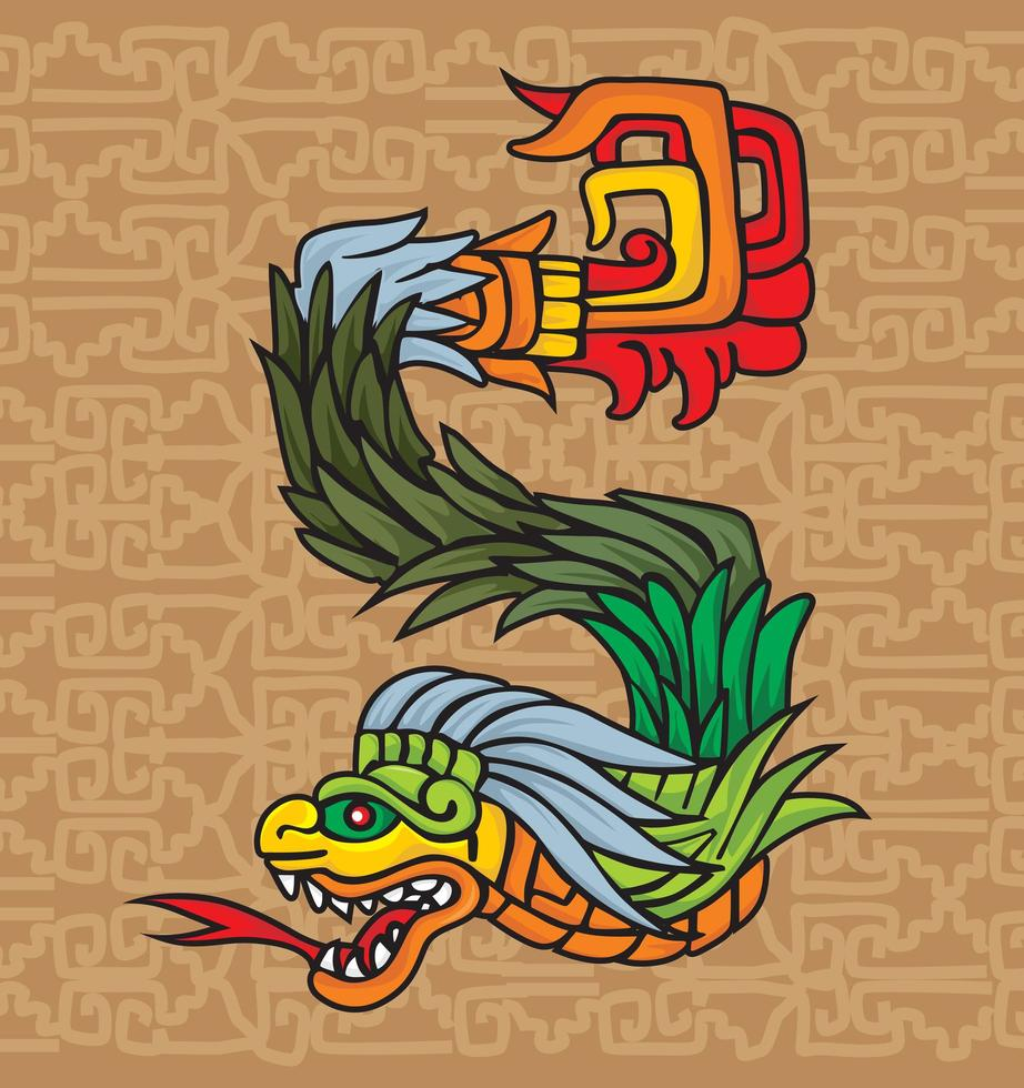 Mayan dragon with tribal pattern vector