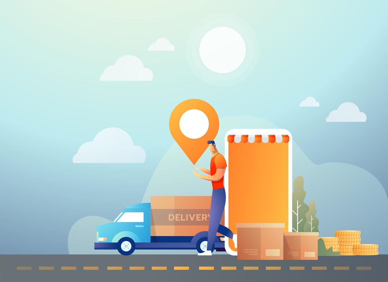 Online shopping and delivery using mobile smartphone vector