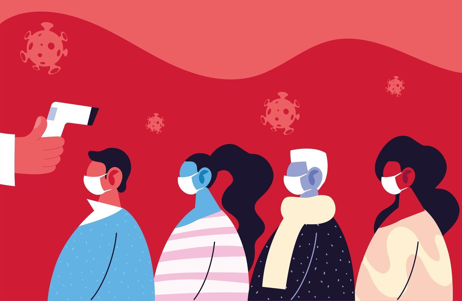 médico verifica la temperatura de un grupo de personas, prevención de coronavirus vector