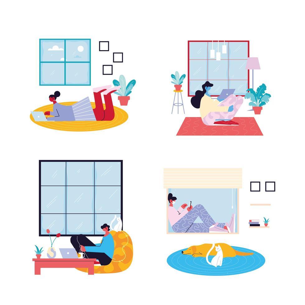 Conjunto de escenas interiores de personas que trabajan desde casa vector
