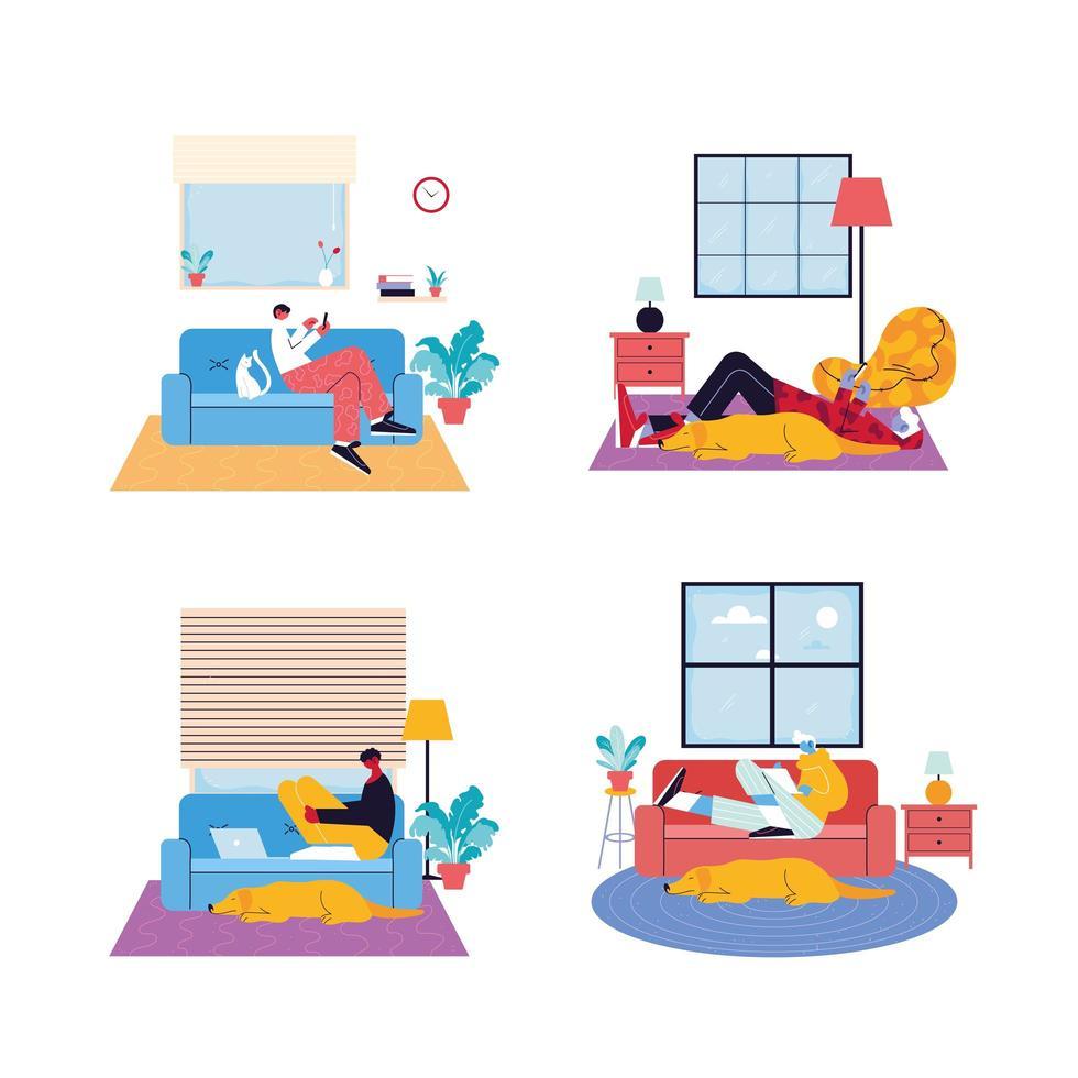 conjunto de cenas de algumas pessoas que trabalham em casa vetor