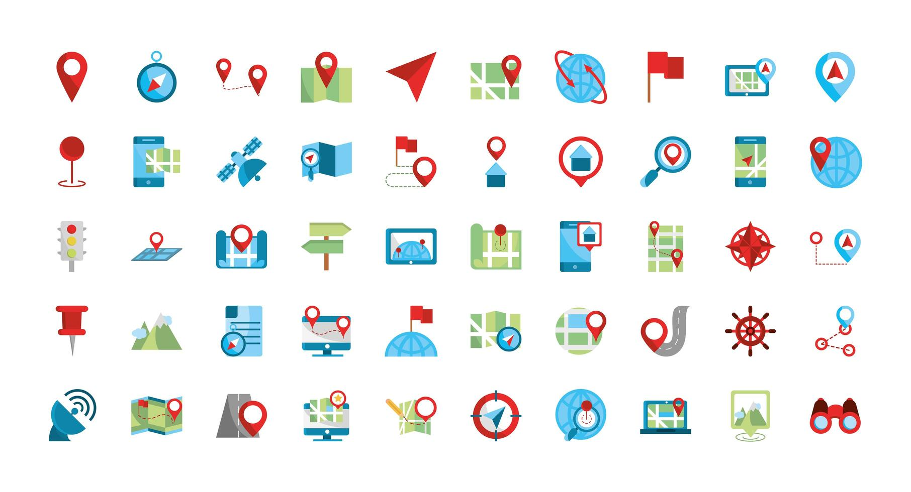 Map and GPS icon set vector