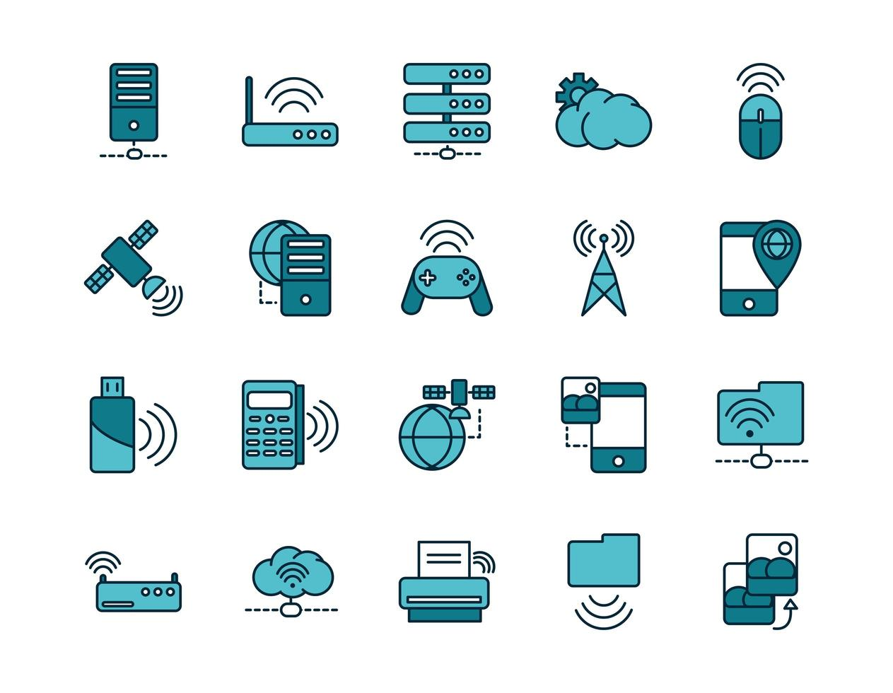 Internet and devices line art icon set vector