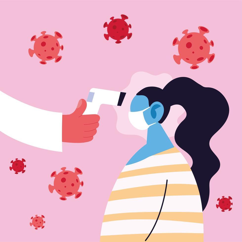 médico mide la temperatura de una mujer usando una máscara vector
